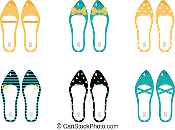 Retro Shoes collection isolated on white ( yellow & blue )