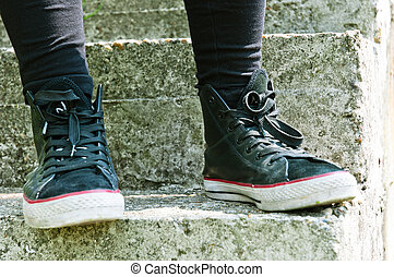 Retro shoes on stairs