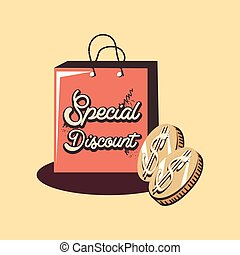 retro shopping bag coins money