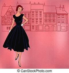 Retro Shopping Girl - Background shopping illustration with ...