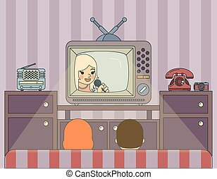Retro show. People watch TV. Illustration in vintage style
