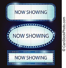 Retro Showtime Sign Theatre cinema Vector illustration -...