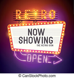 Retro Showtime Sign. Theatre cinema Sign with a glamorous feel. Vector illustration.