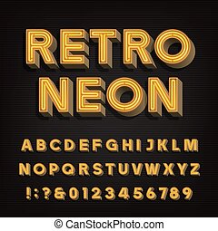 Retro sign alphabet. 3D vintage neon letters and numbers....