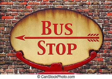 Retro sign Bus stop