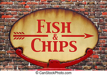 Retro sign Fish and chips - A rusty old retro arrow sign...