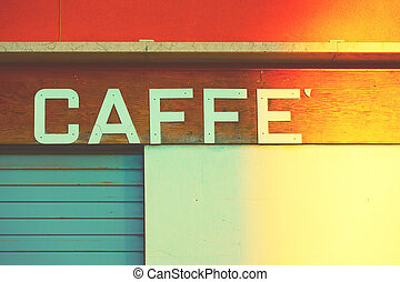 Retro sign of a cafe in Venice