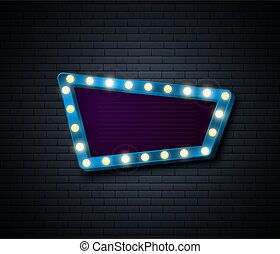 Retro Sign. Signboard with shiny lights. Show advertising isolated on brick wall. Vector illustration