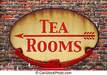 Retro sign Tea rooms - A rusty old retro arrow sign with the...