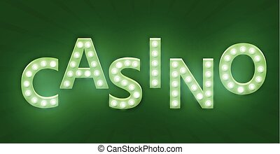 Retro sign with lamp. Casino banner.