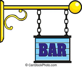 Retro sign with the word bar. Vector illustration