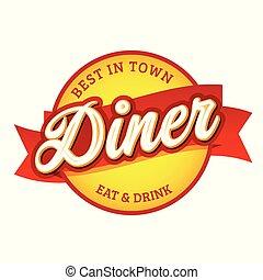 retro, signe, dîneur, vendange, étiquette