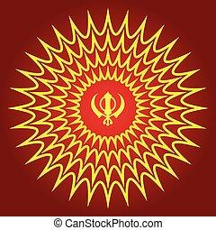 Retro Sikhism Symbol Magical BG - Retro Sikhism Symbol...