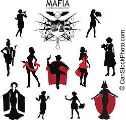 retro, silhouette, mafia, femmina, set, caratteri