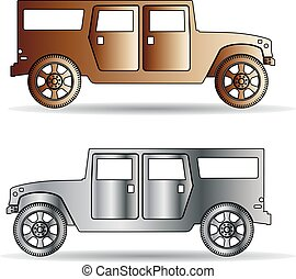 Retro Silhouette of two cars metallic color, cartoon on white background,
