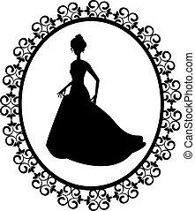 retro silhouette woman in frame