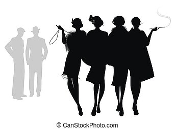 Retro Silhouettes-Sept19-02 - Silhouettes of four flapper ...