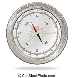 Retro silver compass