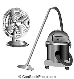 silver wind fan and vacuum cleaner - retro silver wind fan...