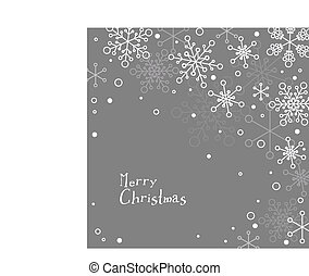 Retro simple Christmas card with white snowflakes