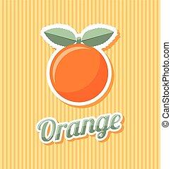 retro, sinaasappel