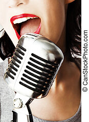 Retro Singer - Girl Singing In Retro Microphone