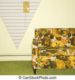 Retro sitting room. - Retro floral printed sofa with yellow...