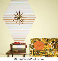 Retro sitting room. - Room decorated with colorful retro...