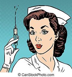 retro, sköta, gir, en, injektion, injektionsspruta, medicin,...