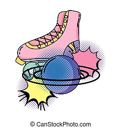 retro skate with planet pop art style