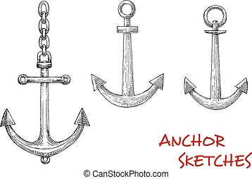 Retro sketches of navy heraldic anchors