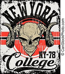 Retro Skull athletic design complete with ram mascot head vector illustration, vintage athletic fonts