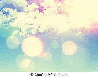 retro sky background 1305 - Sunny blue sky background with...