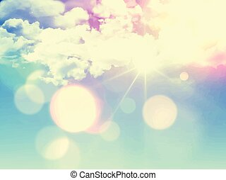 retro sky background 1305 - Sunny blue sky background with...