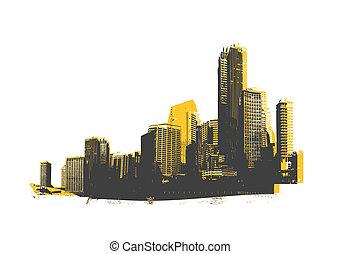 retro, skyscrapers., wektor, art.