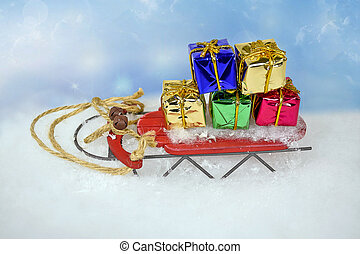 retro sled with Christmas gifts