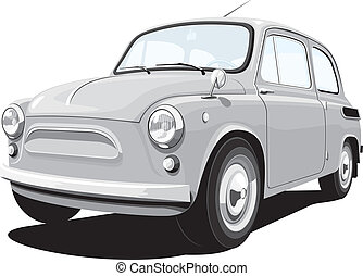 Retro small car - Vector retro small car, without gradients