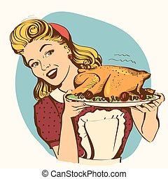 Retro smiling housewife cooks roasted turkey in the kitchen. Vector color illustration isolated on white