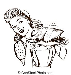 Retro smiling housewife cooks roasted turkey in the kitchen. Vector graphic illustration isolated on white