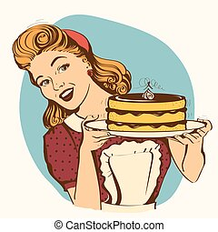 Retro smiling housewife holding big cake in her hands. ...