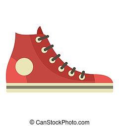 Retro sneaker icon, flat style