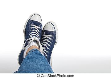 retro, sneakers, ligado, um, fundo branco
