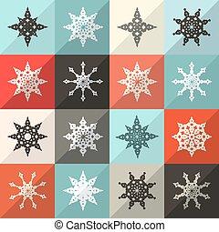 Retro Snowflakes Vector Set