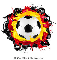 retro soccer ball german flag color splash