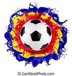 retro soccer ball romanian flag color splash