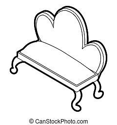 Retro sofa icon, outline style