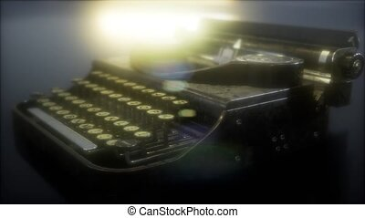 retro, sombre, machine écrire