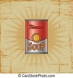 retro, sopa tomate, lata
