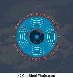Retro sound record studio, vinyl music shop, club vector logo, badge with vinyl record