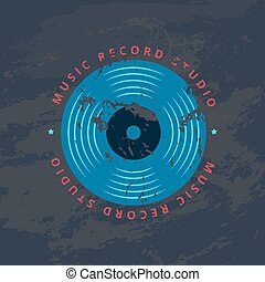 Retro sound record studio, vinyl music shop, club vector logo, badge with vinyl record